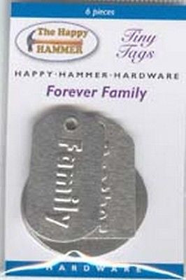 FAMILY METAL TAGS 6 pc Mom Dad Sister Brother Card Making Crafts Mixed Media