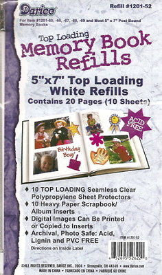 5x7 REFILL Pages Scrapbook Photo Album Refills Memory Book 5 x 7 Top Loading