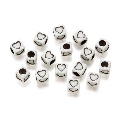 30 HEART BEADS Off White 6mm Cube Sports Jewelry Kids Crafts Necklace School