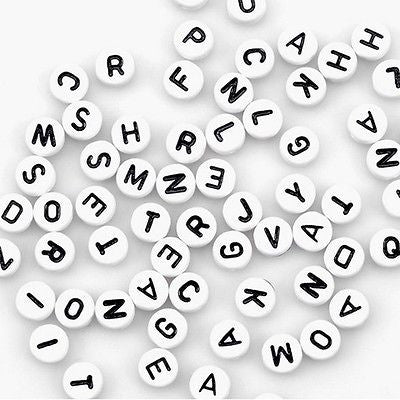 150 WHITE ALPHABET Letter BEADS 7mm Round Jewelry Necklace Bracelet Kids Crafts
