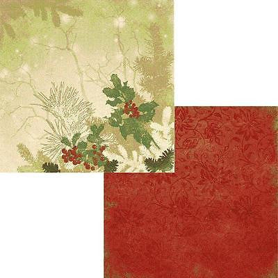 2 12x12 BOUGHS OF HOLLY Papers Christmas Holiday Scrapbooking Crafts Moxxie
