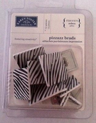 ZEBRA BRADS 12 pc Black & White Textured Animal Print Scrapbooking Kids Crafts