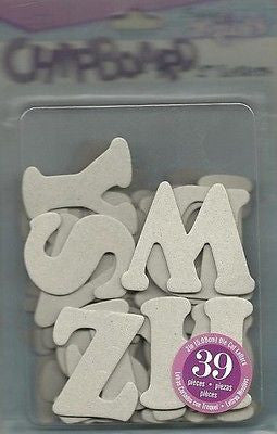 CHIPBOARD LETTERS 39 Uppercase 2 inch Alphabet Scrapbooking Mixed Media Kids