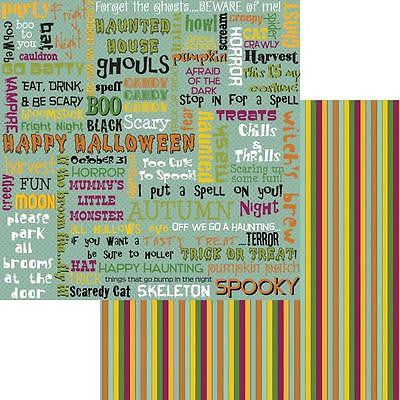 2 12x12 HALLOWEEN Fun Paper HAPPY HAUNTING Scrapbooking Kids Crafts Moxxie