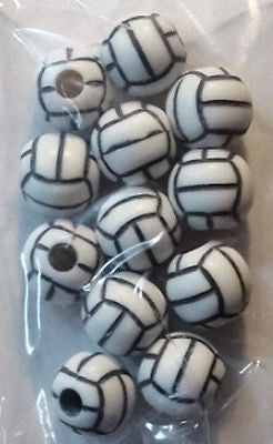 12 VOLLEYBALL BEADS 12mm Sports Jewelry Necklace Earring Kids Crafts School