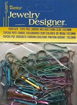 75 Lanyard Hooks Metal Key Chains Multiple Colors Kids Crafts Jewelry