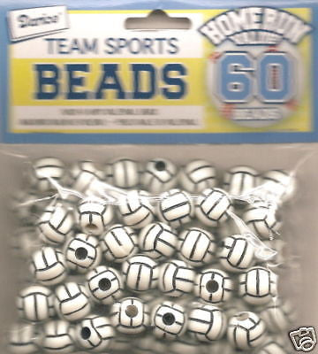 60 VOLLEYBALL BEADS 12mm Sports Jewelry Kids Crafts Necklace Earrings