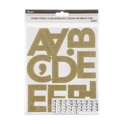 GOLD GLITTER ALPHABET Stickers Letters Numbers 2.5 inches 148 pcs
