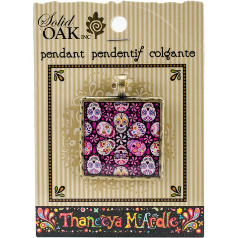 SUGAR SKULL TILE Pendant Charm from Thaneeya Day of the Dead