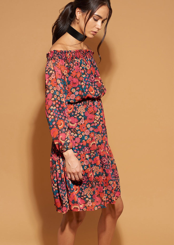 Off-The-Shoulder Printed Chiffon Dress