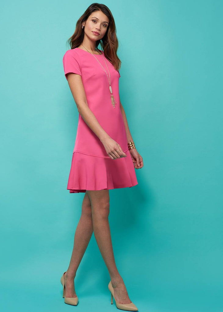 Spring Pink Ruffle Hem Dress