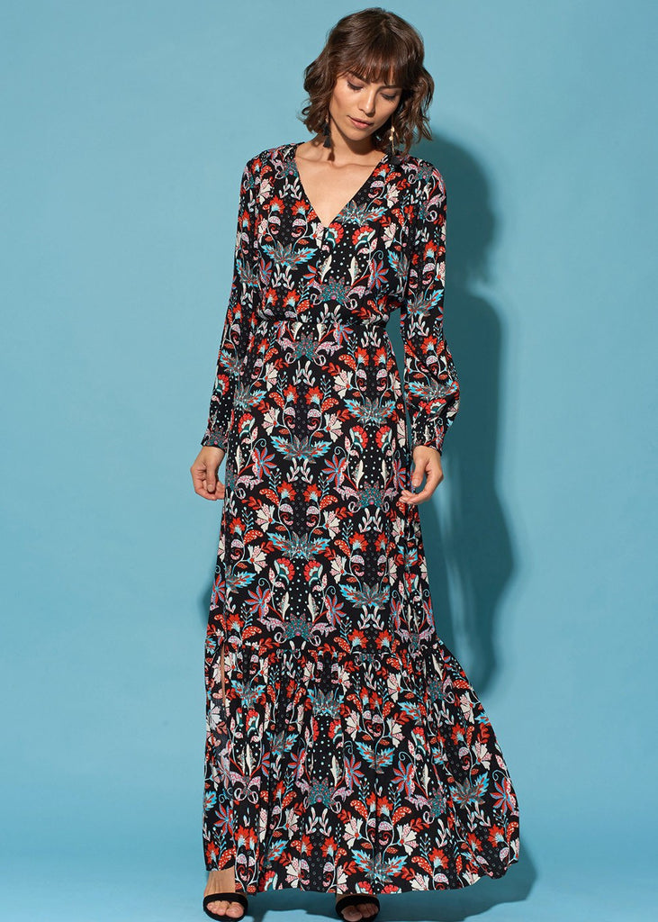 Peasant-Sleeve Tiered Maxi