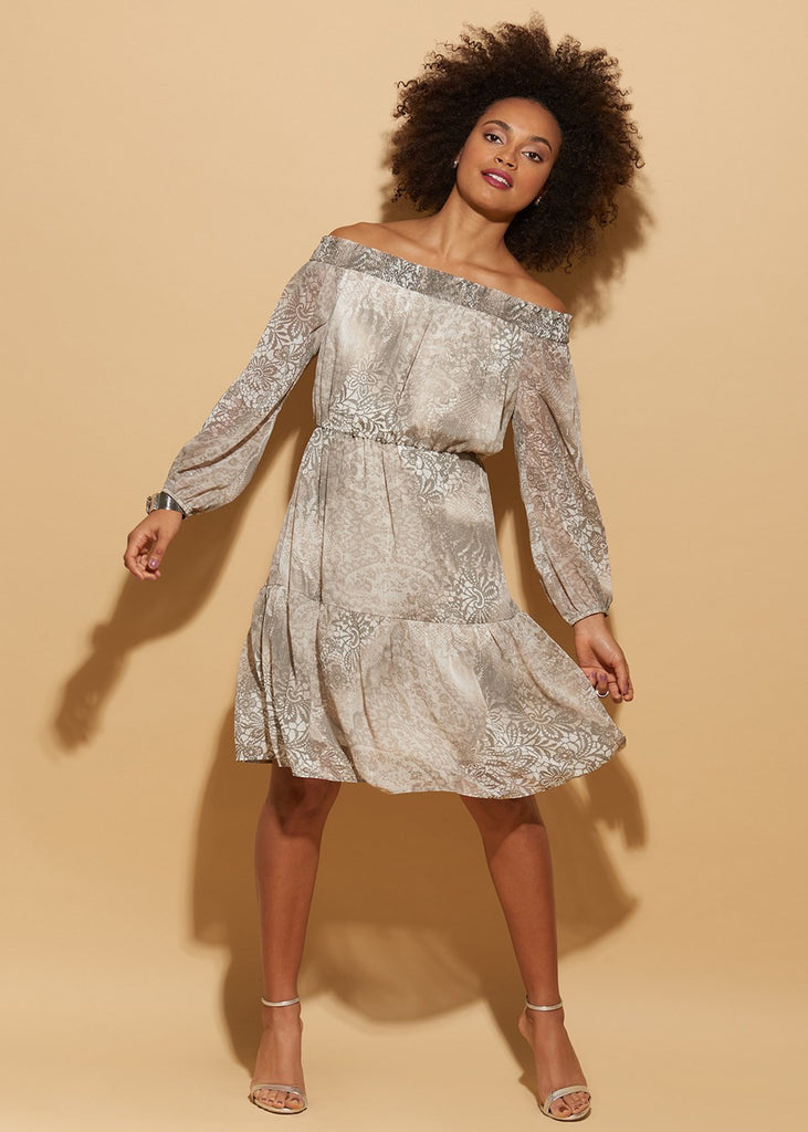 Off The Shoulder Neutral Printed Chiffon Dress