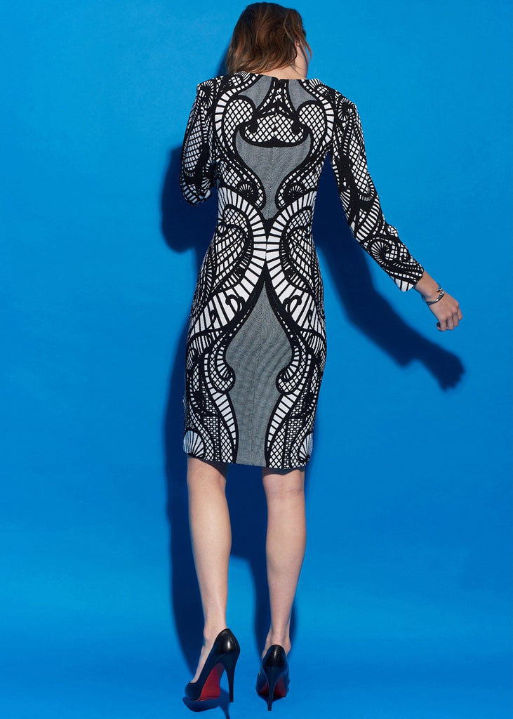 3/4 Sleeve Printed Pique Dress
