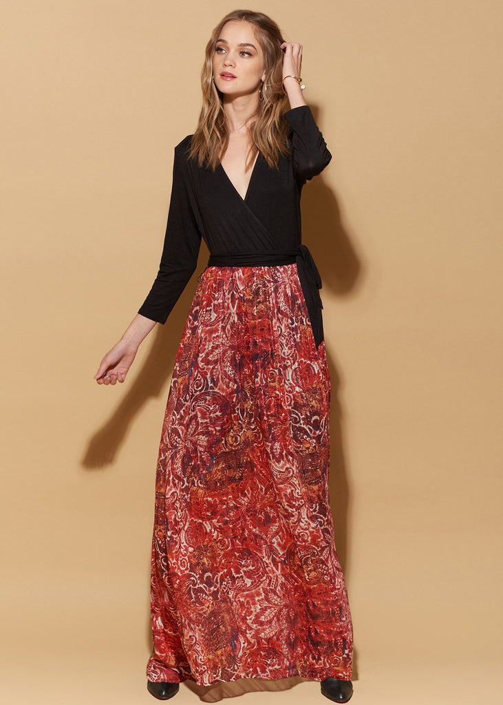 3/4 Sleeve Wrap With Tie Maxi