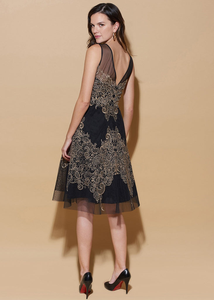 Embroidered Mesh Dress With Illusion Neckline