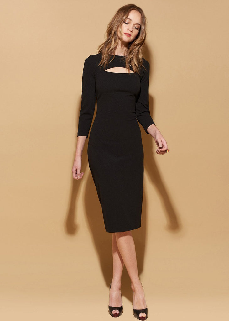 Cut Out Fitted Sheath Midi Dress