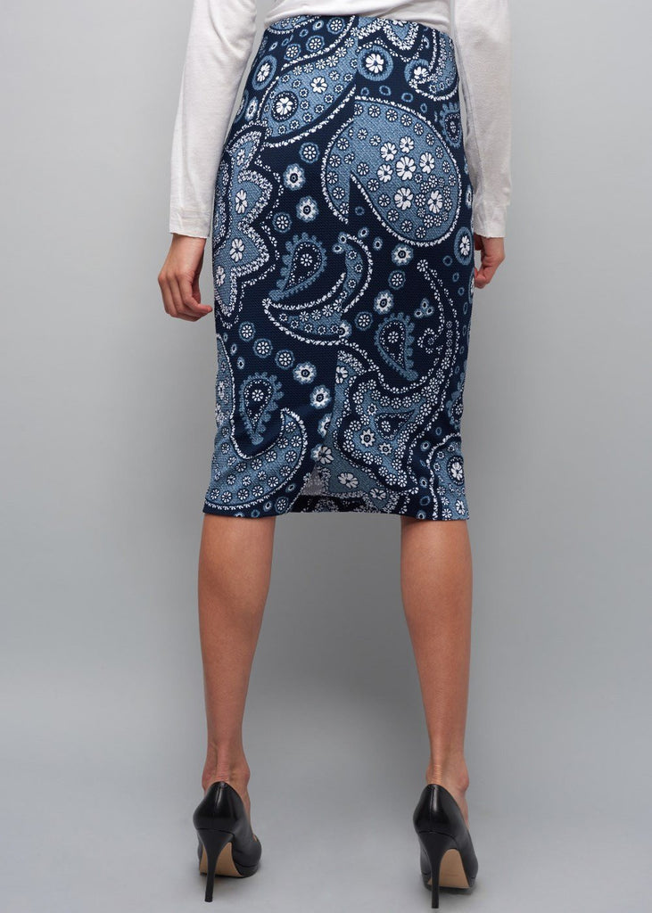 Paisley-Printed Pique-Skirt