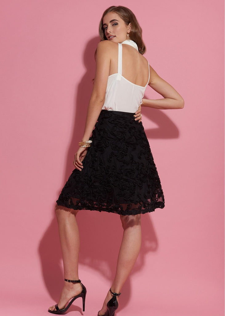 Faux Rose Embellished Mini Skirt