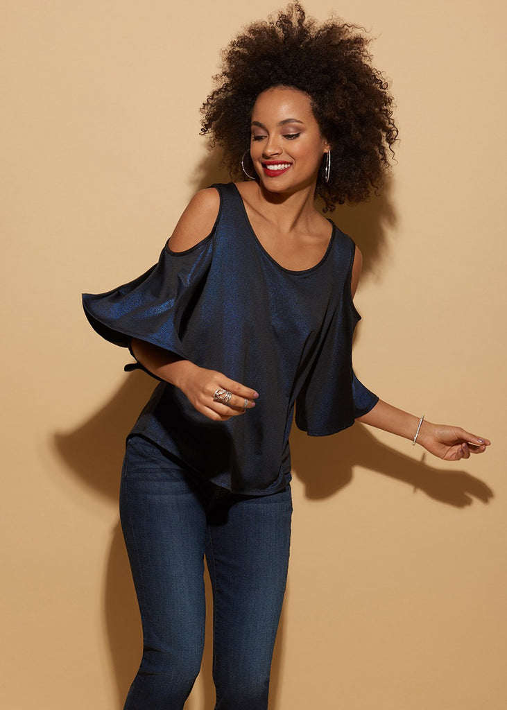 Cold Shoulder Shimmer Swing Top