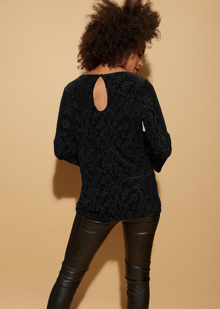 Burnout-Velvet Blouson Top