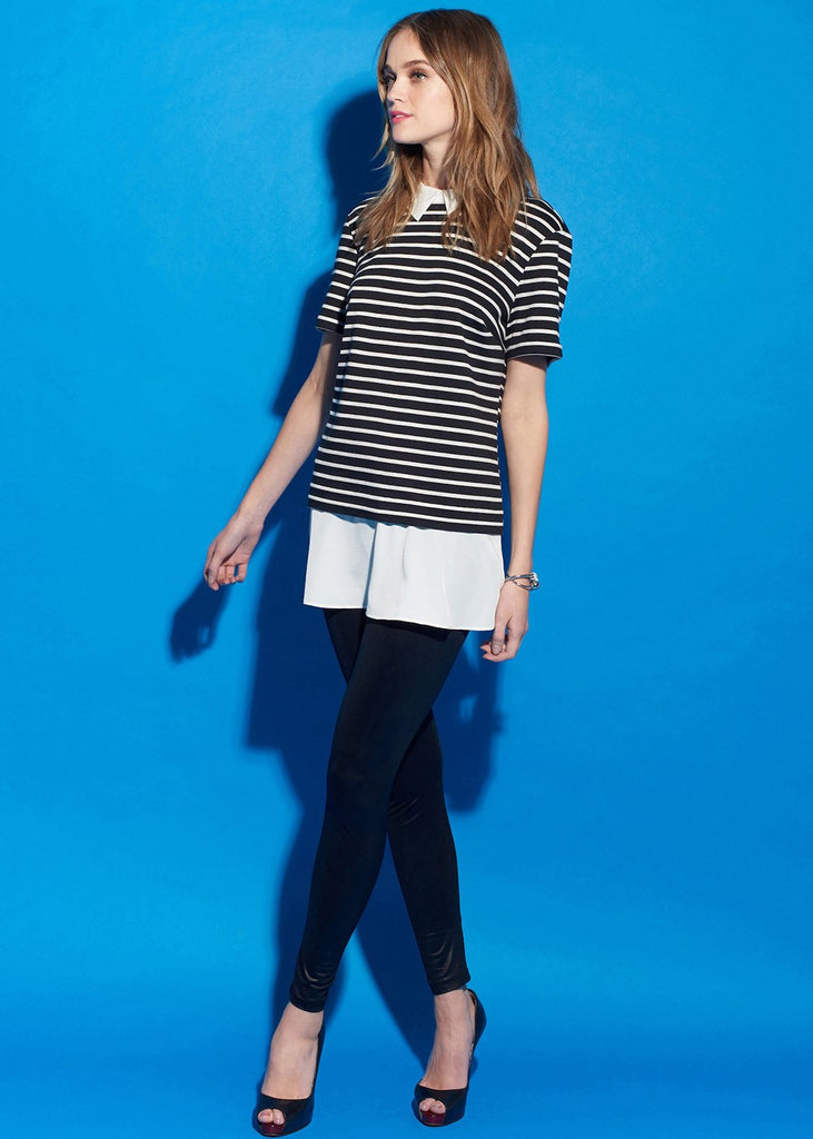 Black And White Pull Over Striped Top
