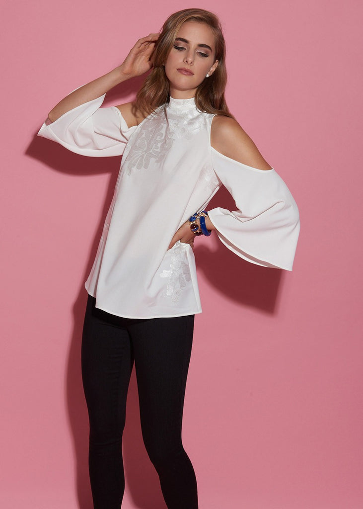 Cold-Shoulder Embroidered Blouse