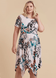 Plus Size Make Me Blush Hanky Hem Dress