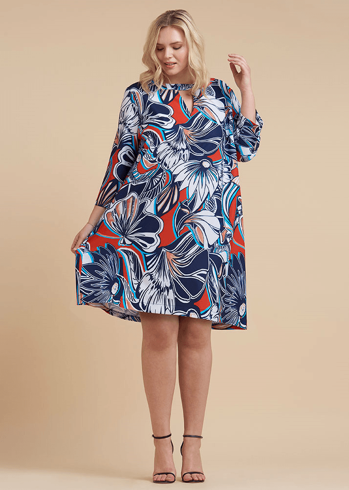 Plus Size Retro Keyhole Swing Dress