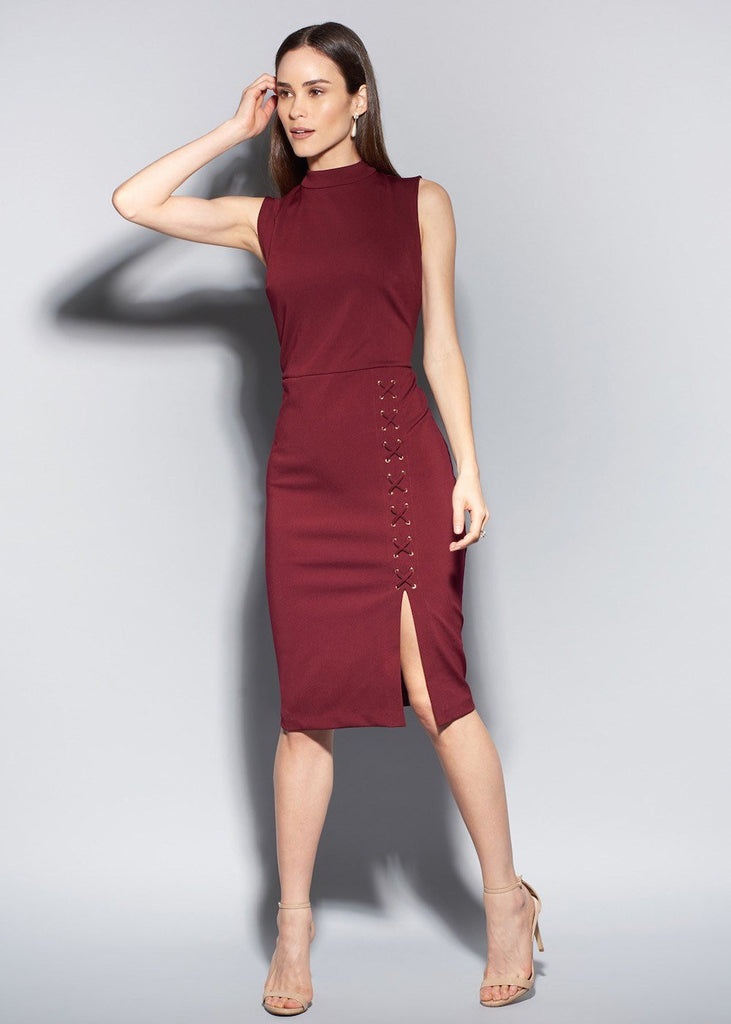 Lace Me Up Sleeveless Shape Dress