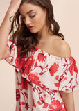 Romantic Floral Printed Ruffle Dress