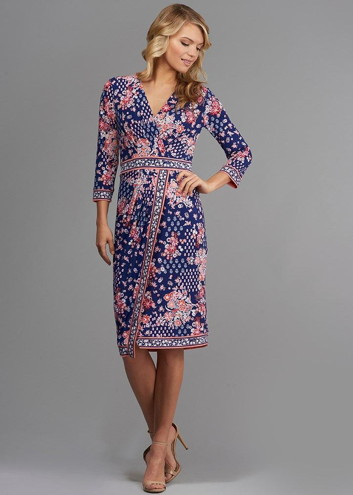 Sophisticated Printed Wrap Dress