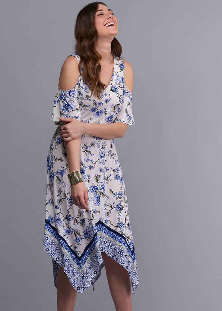 Cold Shoulder Hanky Hem Dress