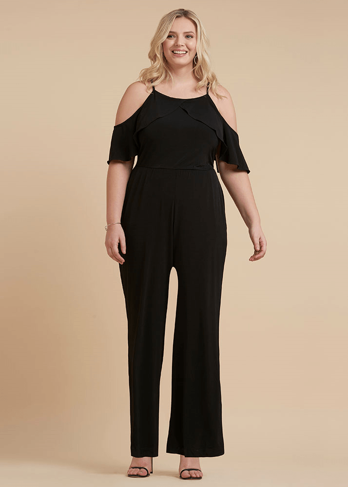 Plus Size Cold Shoulder Ruffle Jumpsuit