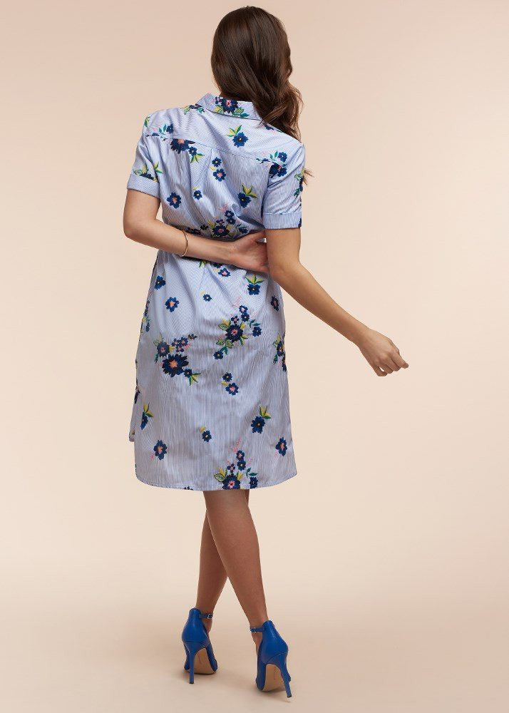 Shirttail Hem Tie Embroidered Dress