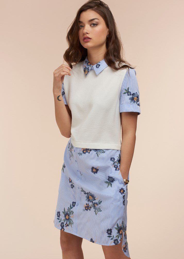 Pull Over Embroidered Shirt Dress