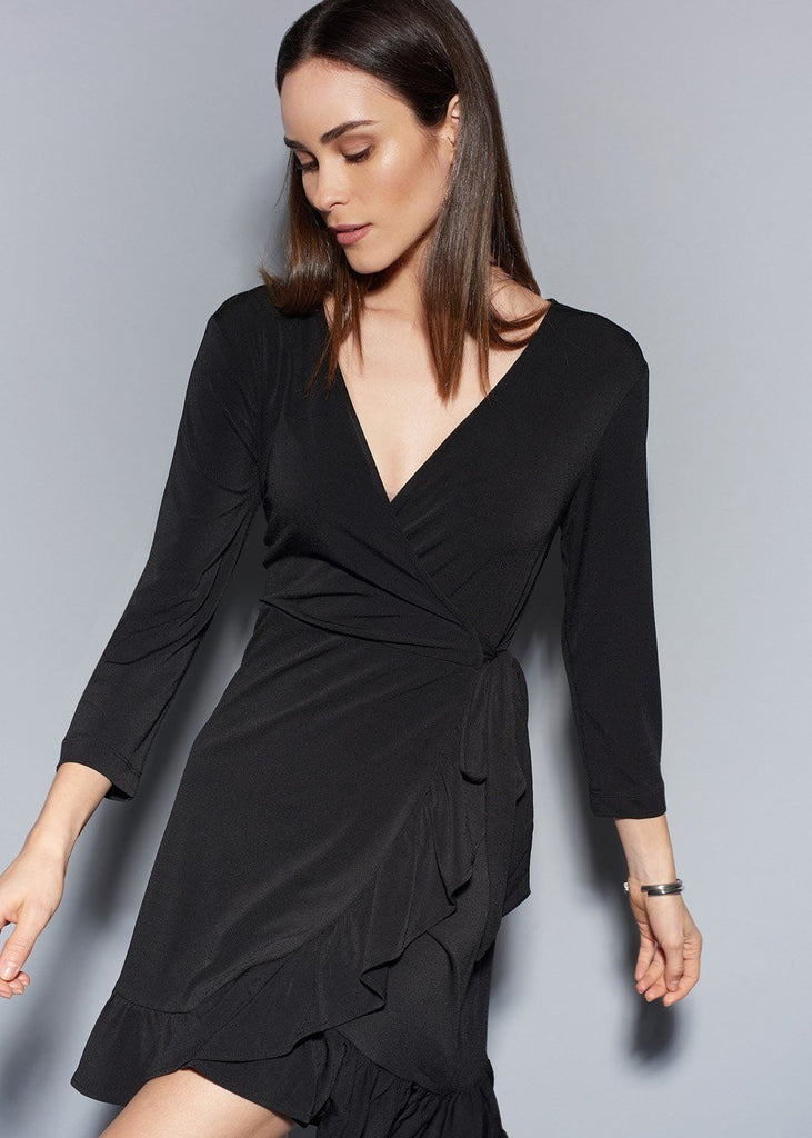 V-Neck Ruffle Faux Wrap Dress