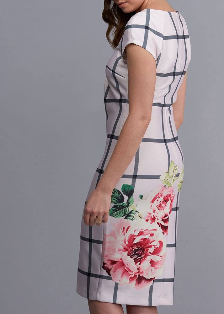 Floral Window Pane Dress