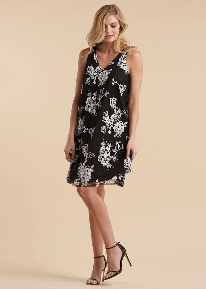 V- Neck Embroidered Sleeveless Dress