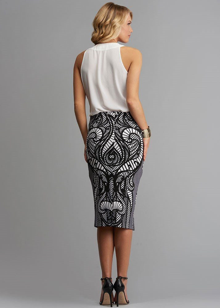 Abstract Printed Pique Skirt