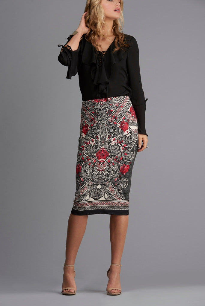 Honeycomb Printed Pique Skirt