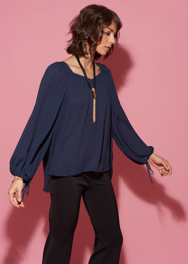 Square-Neck Blouson Top