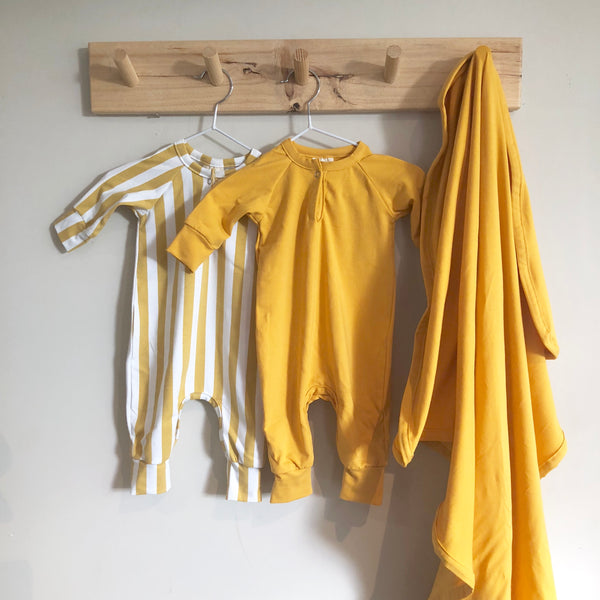 Mustard Stripe Raglan All in One