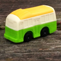 ER-BUS-Iwako Train & Bus Japanese Puzzle Eraser-Bus Cream/Green