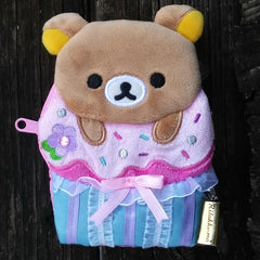 CK39101-San-X Rilakkuma Deluxe Cupcakes Jeweled Cupcake Change Purse with Lace & Ribbon-Relax Bear