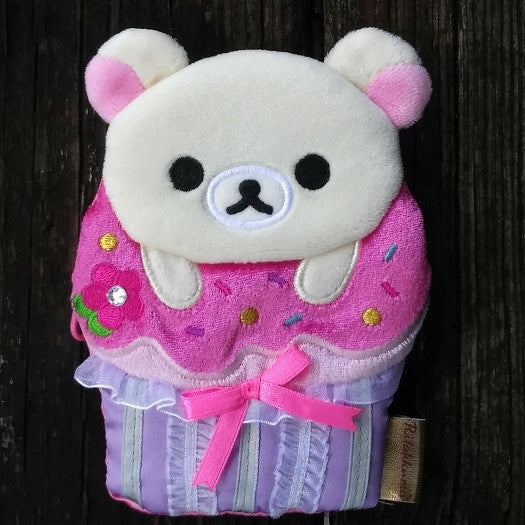 CK39201-San-X Rilakkuma Deluxe Cupcakes Jeweled Cupcake Change Purse with Lace & Ribbon-Little Bear
