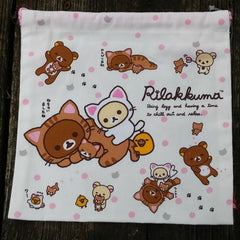 CT76101-San-X Rilakkuma Cosplay Kitten Medium sized Drawstring Pouch Organizer-Lazy & Playful