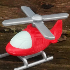 ER-CHOPPER-Iwako Airplane Copter & Boat Japanese Puzzle Eraser-Chopper Red