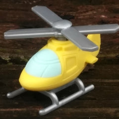 ER-CHOPPER-Iwako Airplane Copter & Boat Japanese Puzzle Eraser-Chopper Yellow