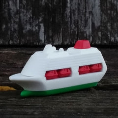 ER-YACHT-Iwako Airplane Copter & Boat Japanese Puzzle Eraser-Boat Green